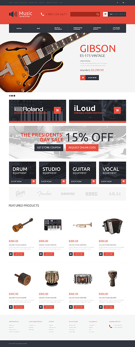 Musical instruments responsive opencart template for Opencart template editor