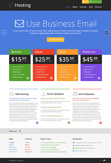 Bootstrap Hosting WordPress Theme