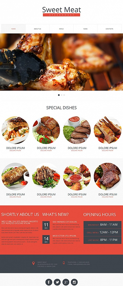 Cafe And Restaurant Moto Cms Html Template 50556