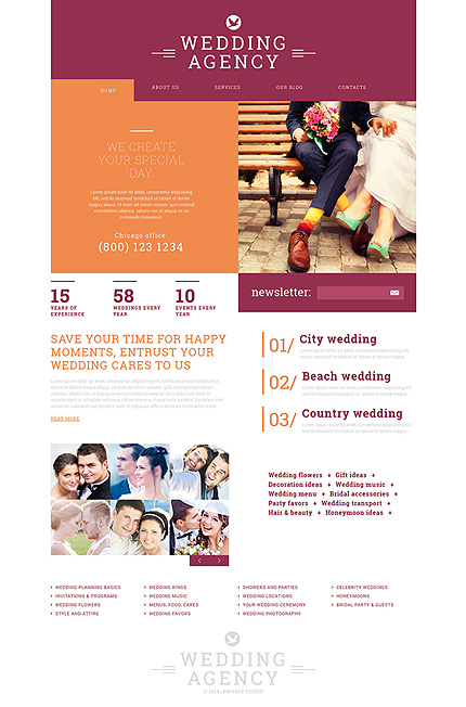 Wedding website inspirations at your coffee break? Browse for more Joomla #templates! // Regular price: $75 // Sources available: .PSD, .PHP #Wedding #Joomla