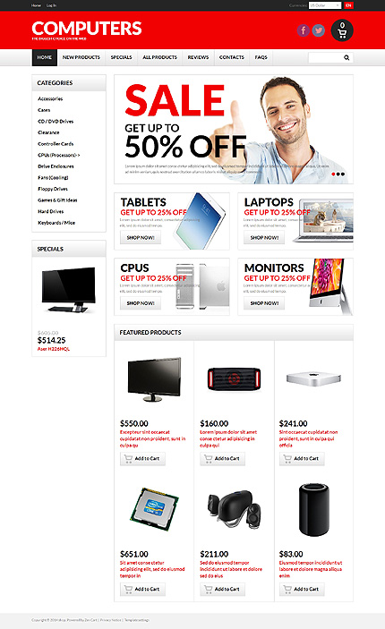 Computers website inspirations at your coffee break? Browse for more Zen Cart #templates! // Regular price: $139 // Sources available: .PSD, .PHP #Computers #Zen Cart