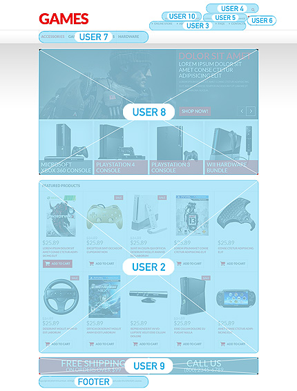 Games website inspirations at your coffee break? Browse for more VirtueMart #templates! // Regular price: $139 // Sources available: .HTML,  .PSD, .PHP, .XML, .CSS, .JS #Games #VirtueMart