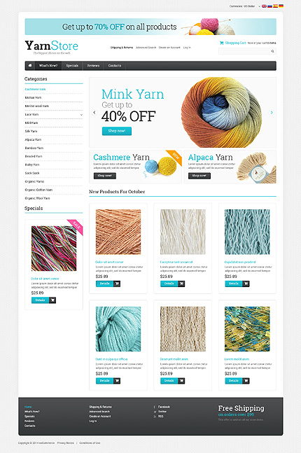 Hobbies & Crafts website inspirations at your coffee break? Browse for more OsCommerce #templates! // Regular price: $139 // Sources available: .PSD, .PHP #Hobbies & Crafts #OsCommerce