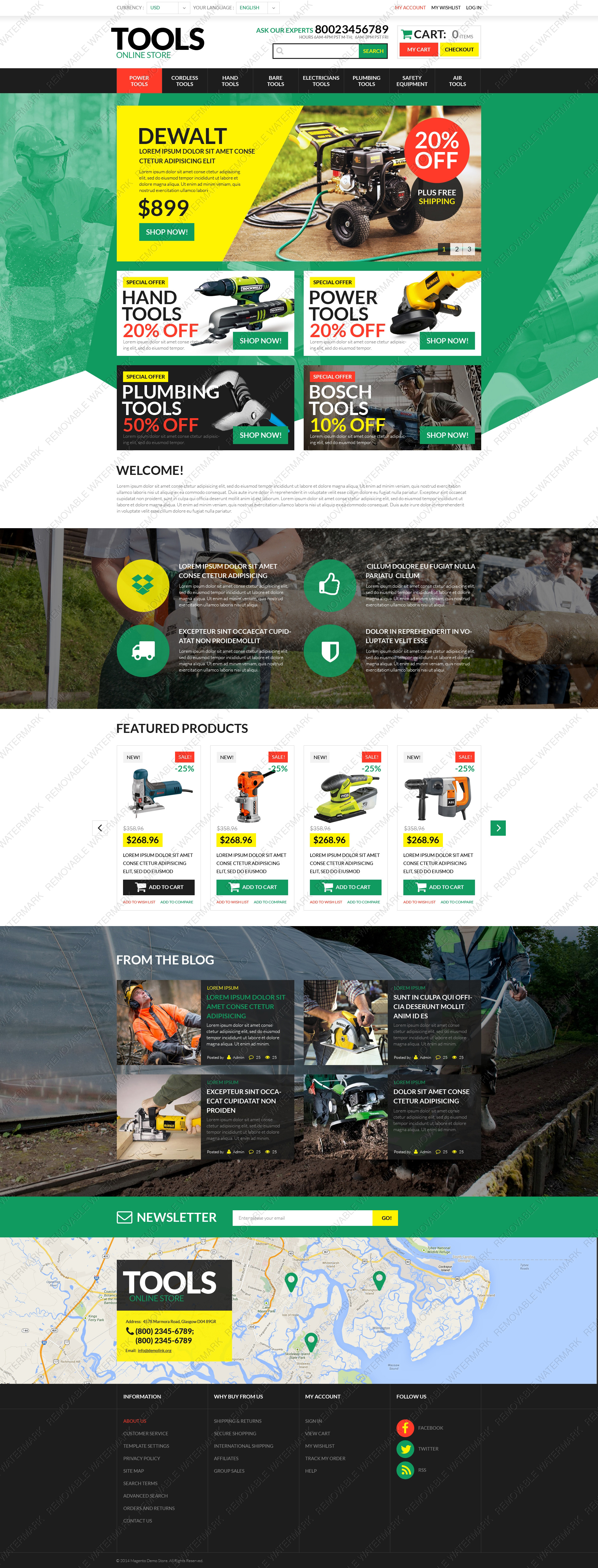 Template 50952 Live demo - Tools Store PSD Template