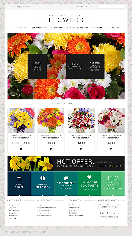 Flowers website inspirations at your coffee break? Browse for more PSD #templates! // Regular price: $55 // Sources available: .PSD, <br><b>No html source files are provided</b> #Flowers #PSD