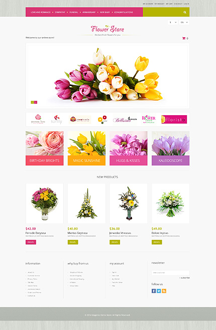 Flowers type magento themes template 51290 for Magento homepage template