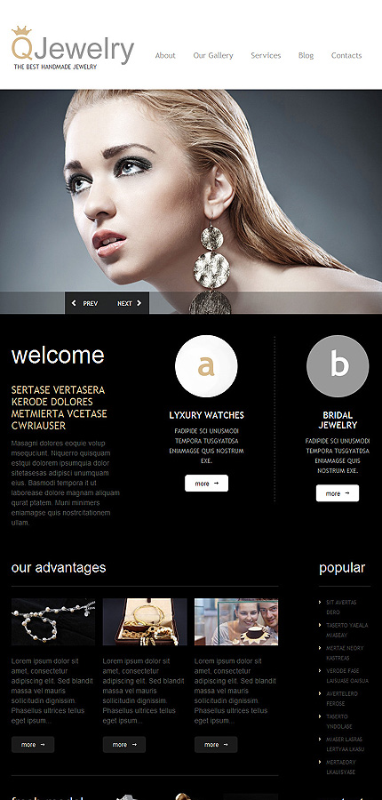 Jewelry Most Popular website inspirations at your coffee break? Browse for more WordPress #templates! // Regular price: $75 // Sources available: .PSD, .PHP, This theme is widgetized #Jewelry #Most Popular #WordPress