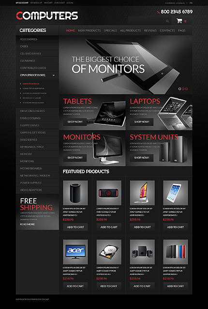 Computers Most Popular website inspirations at your coffee break? Browse for more Zen Cart #templates! // Regular price: $139 // Sources available: .PSD, .PHP #Computers #Most Popular #Zen Cart