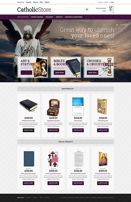 Religious website inspirations at your coffee break? Browse for more VirtueMart #templates! // Regular price: $139 // Sources available: .HTML,  .PSD, .PHP, .XML, .CSS, .JS #Religious #VirtueMart