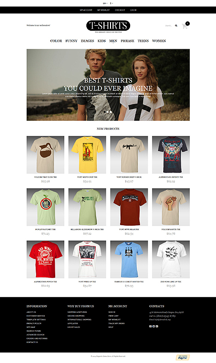 T-shirt store responsive magento template
