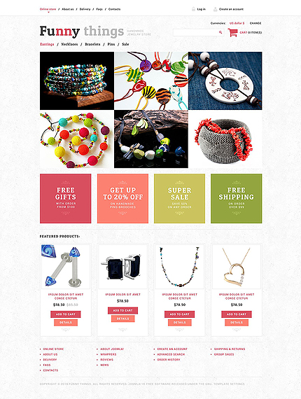 Jewelry website inspirations at your coffee break? Browse for more VirtueMart #templates! // Regular price: $139 // Sources available: .HTML,  .PSD, .PHP, .XML, .CSS, .JS #Jewelry #VirtueMart