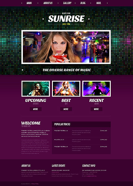 Night Club website inspirations at your coffee break? Browse for more Joomla #templates! // Regular price: $75 // Sources available: .PSD, .PHP #Night Club #Joomla