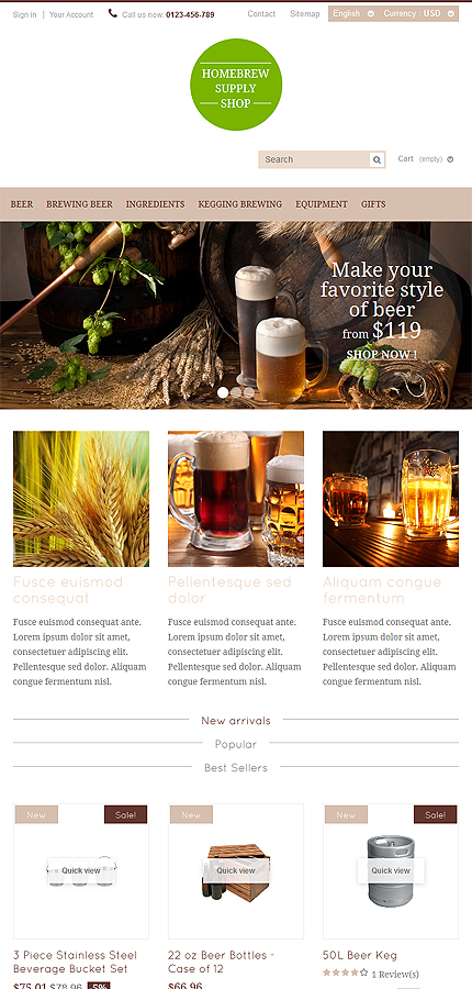 Most Popular Brewery Templates website inspirations at your coffee break? Browse for more PrestaShop #templates! // Regular price: $139 // Sources available: .PSD, .PHP, .TPL #Most Popular #Brewery Templates #PrestaShop