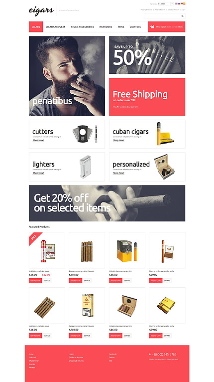 Tobacco Templates website inspirations at your coffee break? Browse for more OsCommerce #templates! // Regular price: $139 // Sources available: .PSD, .PHP #Tobacco Templates #OsCommerce