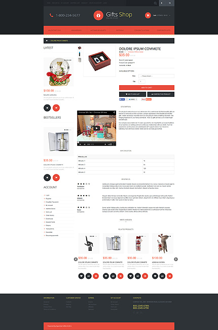 Gifts Most Popular website inspirations at your coffee break? Browse for more OpenCart #templates! // Regular price: $45 // Sources available: .PSD, .PNG, .PHP, .TPL, .JS #Gifts #Most Popular #OpenCart