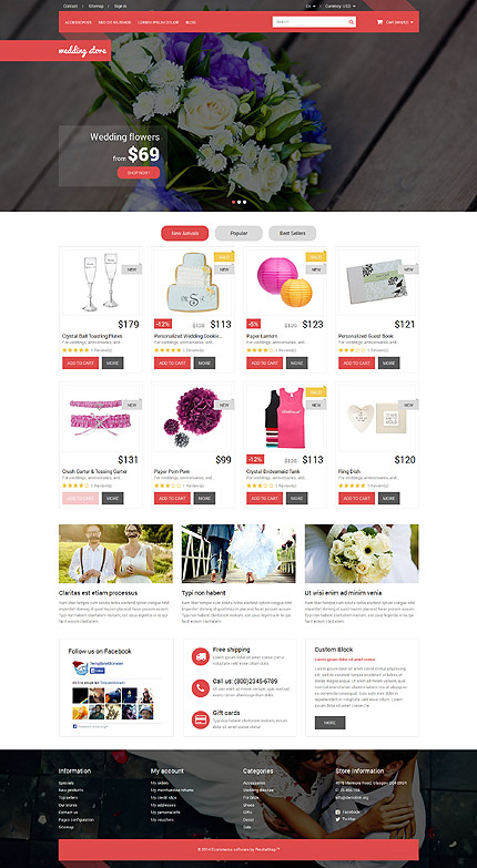 Wedding website inspirations at your coffee break? Browse for more PrestaShop #templates! // Regular price: $139 // Sources available: .PSD, .PHP, .TPL #Wedding #PrestaShop