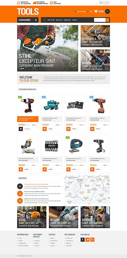 Most Popular Tools & Equipment website inspirations at your coffee break? Browse for more OpenCart #templates! // Regular price: $49 // Sources available: .PSD, .PNG, .PHP, .TPL, .JS #Most Popular #Tools & Equipment #OpenCart