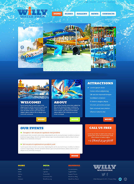 Water park responsive wordpress theme water park wordpress template pronofoot35fo Image collections