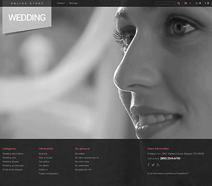 Wedding website inspirations at your coffee break? Browse for more PrestaShop #templates! // Regular price: $99 // Sources available: .PSD, .PHP, .TPL #Wedding #PrestaShop