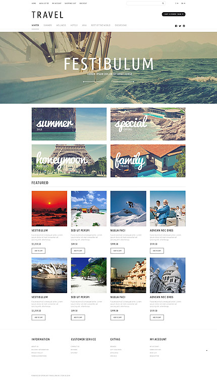 Travel Most Popular website inspirations at your coffee break? Browse for more OpenCart #templates! // Regular price: $49 // Sources available: .PSD, .PNG, .PHP, .TPL, .JS #Travel #Most Popular #OpenCart