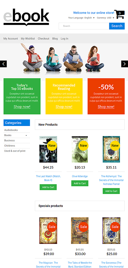 Books Most Popular website inspirations at your coffee break? Browse for more Magento #templates! // Regular price: $179 // Sources available: .PSD, .XML, .PHTML, .CSS #Books #Most Popular #Magento