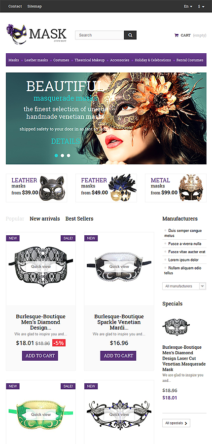 Holiday Templates website inspirations at your coffee break? Browse for more PrestaShop #templates! // Regular price: $139 // Sources available: .PSD, .PHP, .TPL #Holiday Templates #PrestaShop