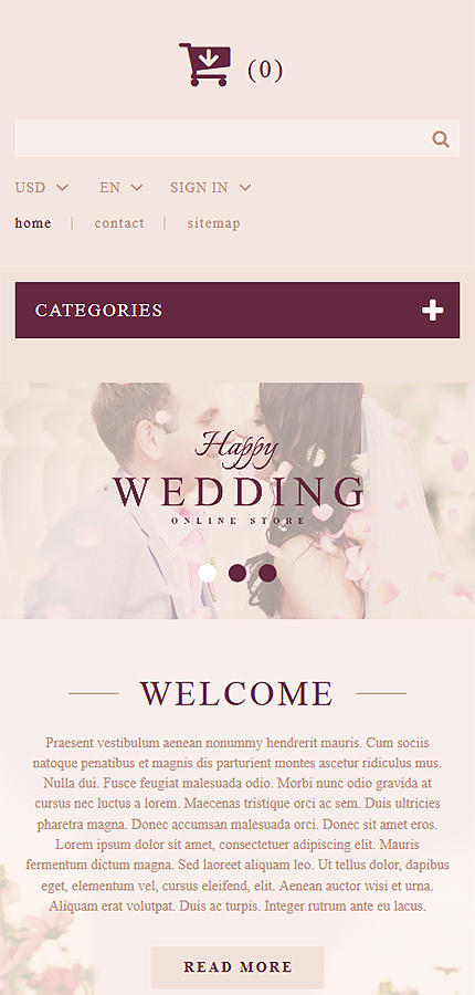 Wedding Most Popular website inspirations at your coffee break? Browse for more PrestaShop #templates! // Regular price: $139 // Sources available: .PSD, .PHP, .TPL #Wedding #Most Popular #PrestaShop