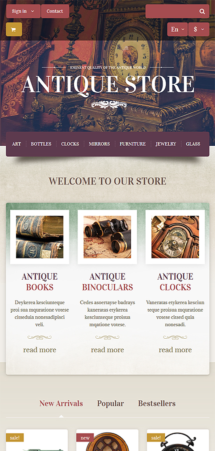 Most Popular Antique Templates website inspirations at your coffee break? Browse for more PrestaShop #templates! // Regular price: $139 // Sources available: .PSD, .PHP, .TPL #Most Popular #Antique Templates #PrestaShop