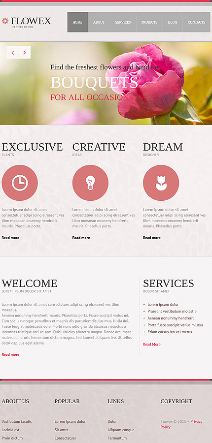 Flowers Most Popular website inspirations at your coffee break? Browse for more Joomla #templates! // Regular price: $75 // Sources available: .PSD, .PHP #Flowers #Most Popular #Joomla