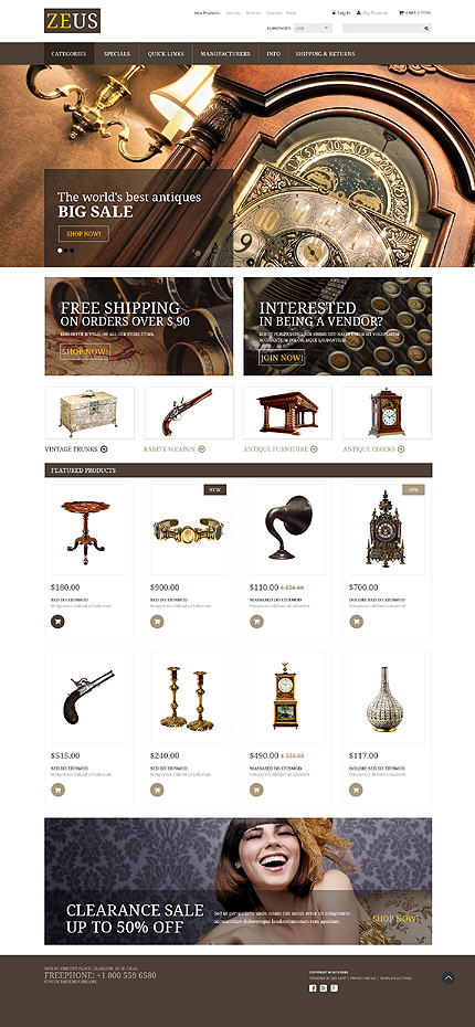 Most Popular Antique Templates website inspirations at your coffee break? Browse for more Zen Cart #templates! // Regular price: $139 // Sources available: .PSD, .PHP #Most Popular #Antique Templates #Zen Cart