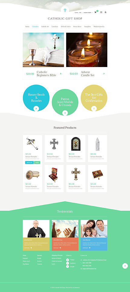 Religious website inspirations at your coffee break? Browse for more OsCommerce #templates! // Regular price: $139 // Sources available: .PSD, .PHP #Religious #OsCommerce