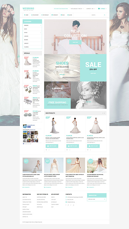 Wedding type magento themes template 53962 for Magento community templates