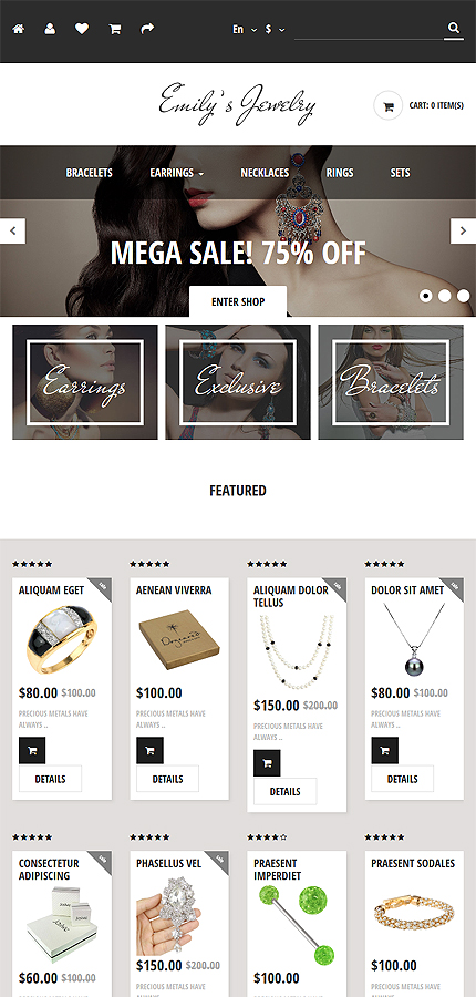 Jewelry Most Popular website inspirations at your coffee break? Browse for more OpenCart #templates! // Regular price: $49 // Sources available: .PSD, .PNG, .PHP, .TPL, .JS #Jewelry #Most Popular #OpenCart