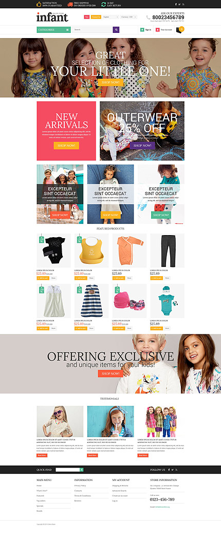 Family website inspirations at your coffee break? Browse for more OsCommerce #templates! // Regular price: $139 // Sources available: .PSD, .PHP #Family #OsCommerce