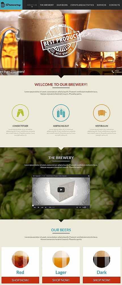 Brewery Templates website inspirations at your coffee break? Browse for more Moto CMS HTML #templates! // Regular price: $139 // Sources available:<b>Sources Not Included</b> #Brewery Templates #Moto CMS HTML