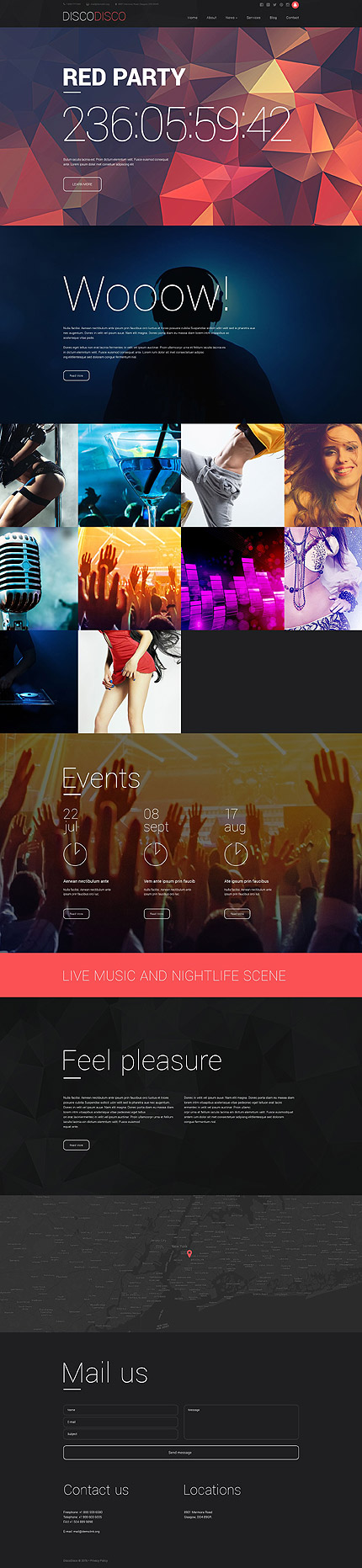 Night Club Most Popular website inspirations at your coffee break? Browse for more Drupal #templates! // Regular price: $75 // Sources available: .PSD, .PHP #Night Club #Most Popular #Drupal
