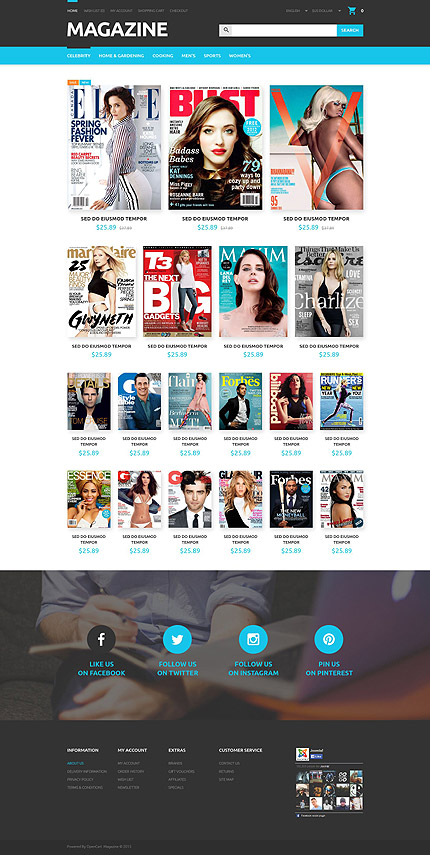 Media Most Popular website inspirations at your coffee break? Browse for more OpenCart #templates! // Regular price: $49 // Sources available: .PSD, .PNG, .PHP, .TPL, .JS #Media #Most Popular #OpenCart
