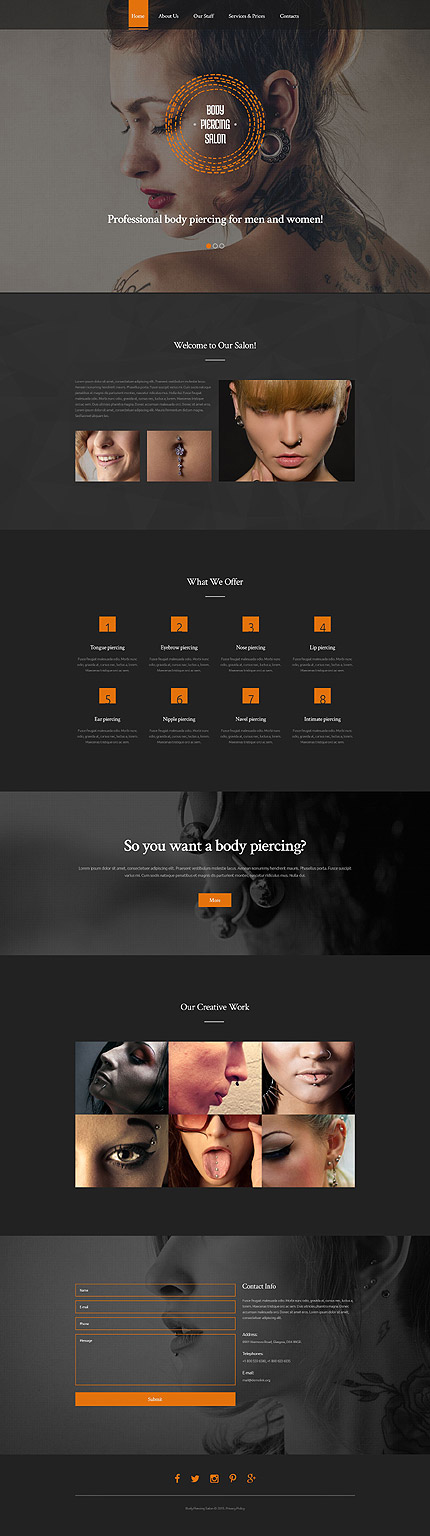 body piercing salon website template 55192