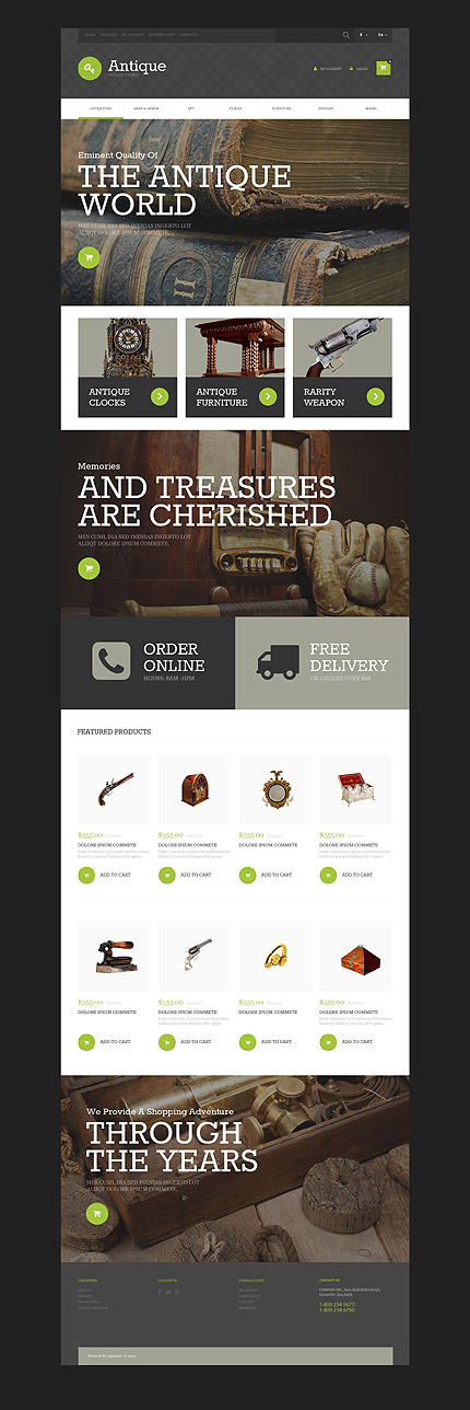 Antique Templates website inspirations at your coffee break? Browse for more OsCommerce #templates! // Regular price: $139 // Sources available: .PSD, .PHP #Antique Templates #OsCommerce