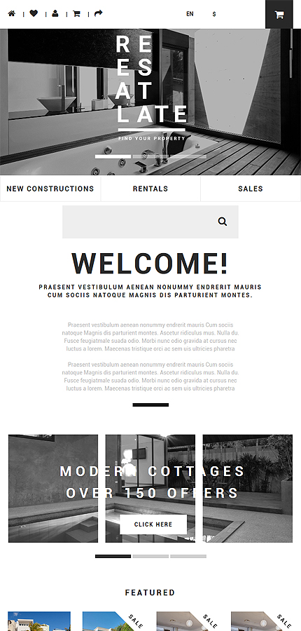 Real Estate Most Popular website inspirations at your coffee break? Browse for more OpenCart #templates! // Regular price: $89 // Sources available: .PSD, .PNG, .PHP, .TPL, .JS #Real Estate #Most Popular #OpenCart