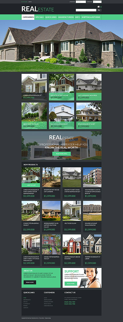 Real Estate Most Popular website inspirations at your coffee break? Browse for more Zen Cart #templates! // Regular price: $139 // Sources available: .PSD, .PHP #Real Estate #Most Popular #Zen Cart