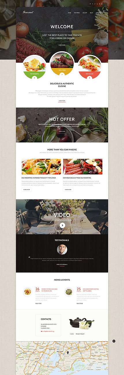 Gourmet Cuisine WordPress Cafe Responsive Theme