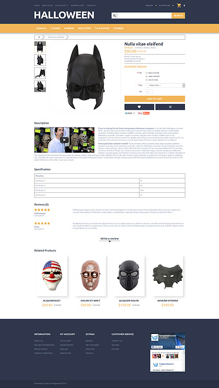 Halloween Templates website inspirations at your coffee break? Browse for more OpenCart #templates! // Regular price: $89 // Sources available: .PSD, .PNG, .PHP, .TPL, .JS #Halloween Templates #OpenCart