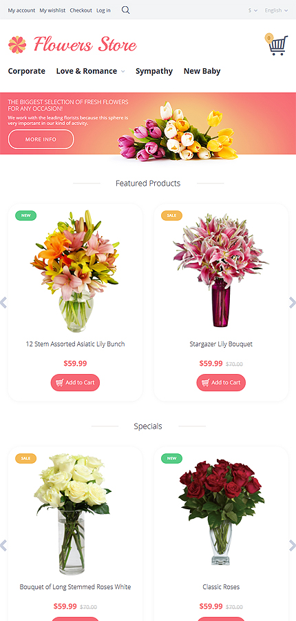 Flowers Most Popular website inspirations at your coffee break? Browse for more OpenCart #templates! // Regular price: $89 // Sources available: .PSD, .PNG, .PHP, .TPL, .JS #Flowers #Most Popular #OpenCart