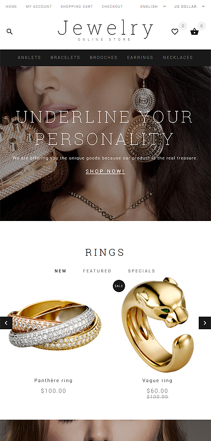 Jewelry Most Popular website inspirations at your coffee break? Browse for more OpenCart #templates! // Regular price: $54 // Sources available: .PSD, .PNG, .PHP, .TPL, .JS #Jewelry #Most Popular #OpenCart