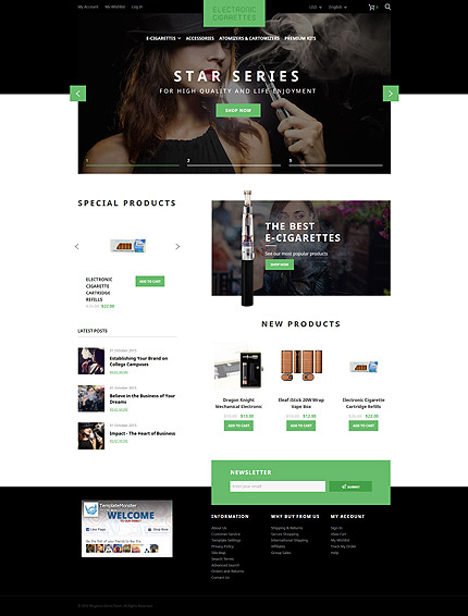 Most Popular Tobacco Templates website inspirations at your coffee break? Browse for more Magento #templates! // Regular price: $179 // Sources available: .PSD, .XML, .PHTML, .CSS #Most Popular #Tobacco Templates #Magento