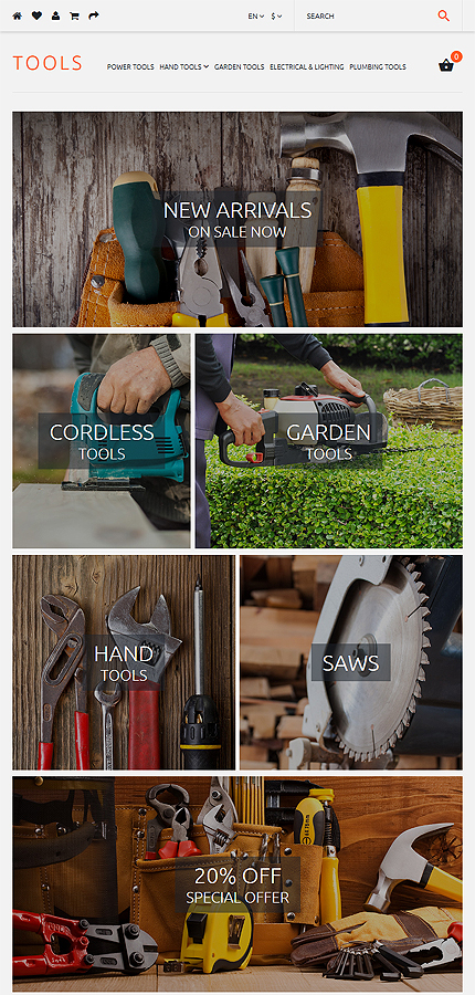 Most Popular Tools & Equipment website inspirations at your coffee break? Browse for more OpenCart #templates! // Regular price: $45 // Sources available: .PSD, .PNG, .PHP, .TPL, .JS #Most Popular #Tools & Equipment #OpenCart