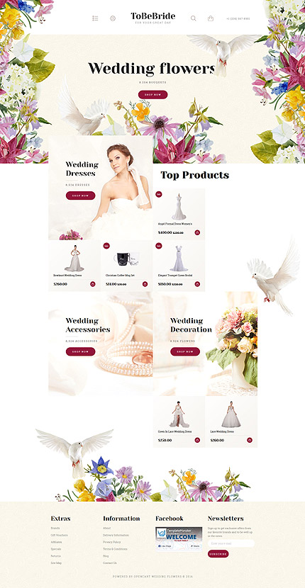 Wedding Most Popular website inspirations at your coffee break? Browse for more OpenCart #templates! // Regular price: $89 // Sources available: .PSD, .PNG, .PHP, .TPL, .JS #Wedding #Most Popular #OpenCart