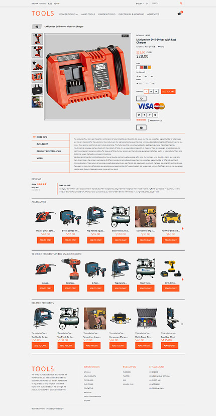Most Popular Tools & Equipment website inspirations at your coffee break? Browse for more PrestaShop #templates! // Regular price: $139 // Sources available: .PSD, .PHP, .TPL #Most Popular #Tools & Equipment #PrestaShop