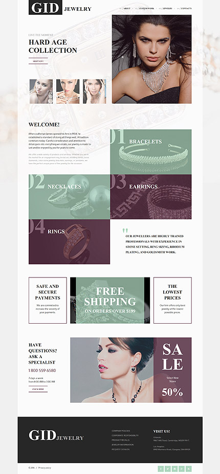 Jewelry website inspirations at your coffee break? Browse for more Responsive JavaScript Animated #templates! // Regular price: $69 // Sources available: .HTML,  .PSD #Jewelry #Responsive JavaScript Animated